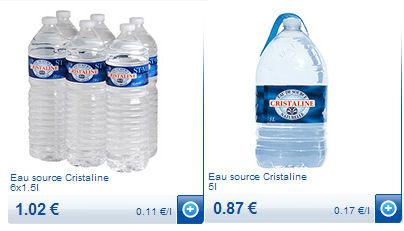 bouteilles cristaline